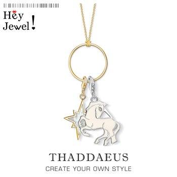 Collar encantador Golden Star y unicornio, joyería de moda 2020 Thomas Cadena de eslabones de plata esterlina 925 regalo romántico para mujer