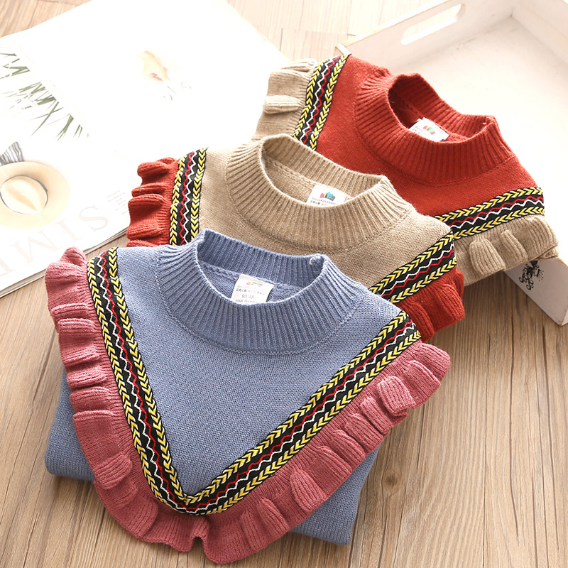 2020 Autumn Spring 2 3-10 12 Years Children'S Clothing O-Neck Knitted Pullover Cotton Ruffles Patchwork Kids Baby Girls Sweater 2