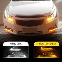 Feux de jour pour Chevrolet cruze 2009 2010 2011 2012 2013, 2 pièces, feux de voiture DRL avec signal jaune