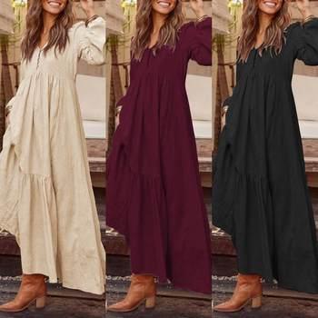 ZANZEA Plus Size Women Casual Long Sleeve Pleated Party Dress Elegant V Neck Pockets Long Maxi Dresses Fashion Bohemian Vestidos elegant style v neck side pleated design long sleeve cotton blend dress for women