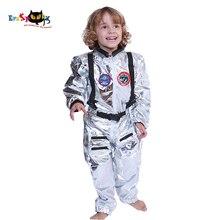 Elaspooky combinaison Cosplay astronaute argentée pour garçons, uniforme de pilote pour enfants, tenue dhalloween, tenue de fête pour enfants