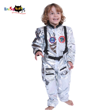 Eraspooky Boys Spaceman One piece Jumpsuit Silver Astronaut Cosplay Children Pilot Uniform Helmet Halloween Costume Kids Party