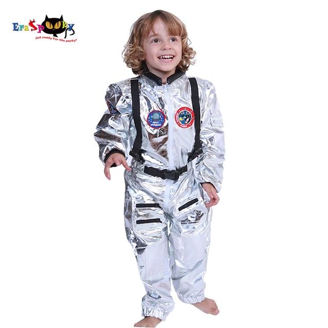 Eraspooky Boys Spaceman One piece Jumpsuit Silver Astronaut Cosplay Children Pilot Uniform Helmet Halloween Costume Kids Party