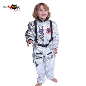 Image 1 - Eraspooky 男の子宇宙飛行士ワンピースジャンプスーツシルバー宇宙飛行士コスプレ子供パイロット制服ヘルメットハロウィン衣装子供パーティー