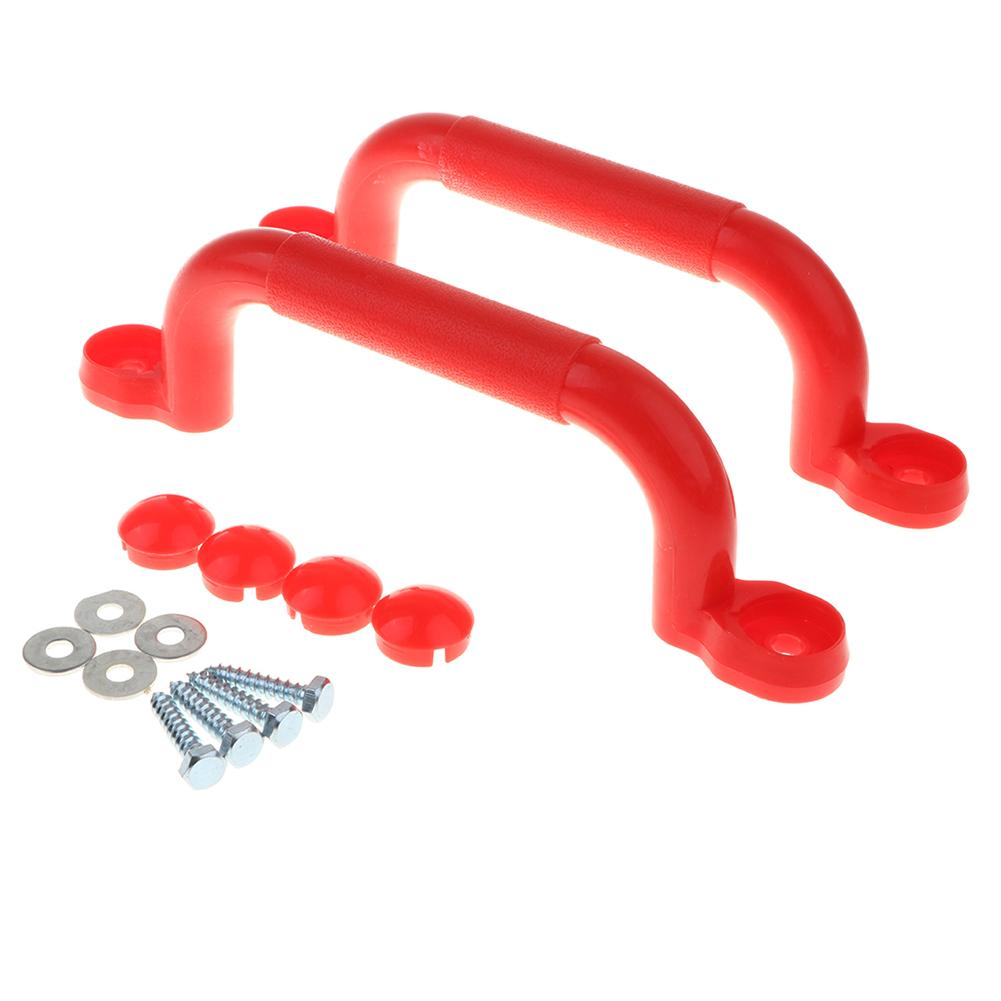 1 Pair Kids Children Playground Safety Nonslip Handle Mounting Hardware Kits Climbing Frame Swing Toy Accessories Red