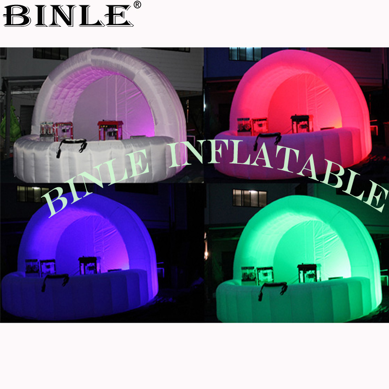 Multi-colored LED Inflatable Bar Counter,cocktail Sale Stand,food Fruit Concession Booth/trade Show Tent For Advertising