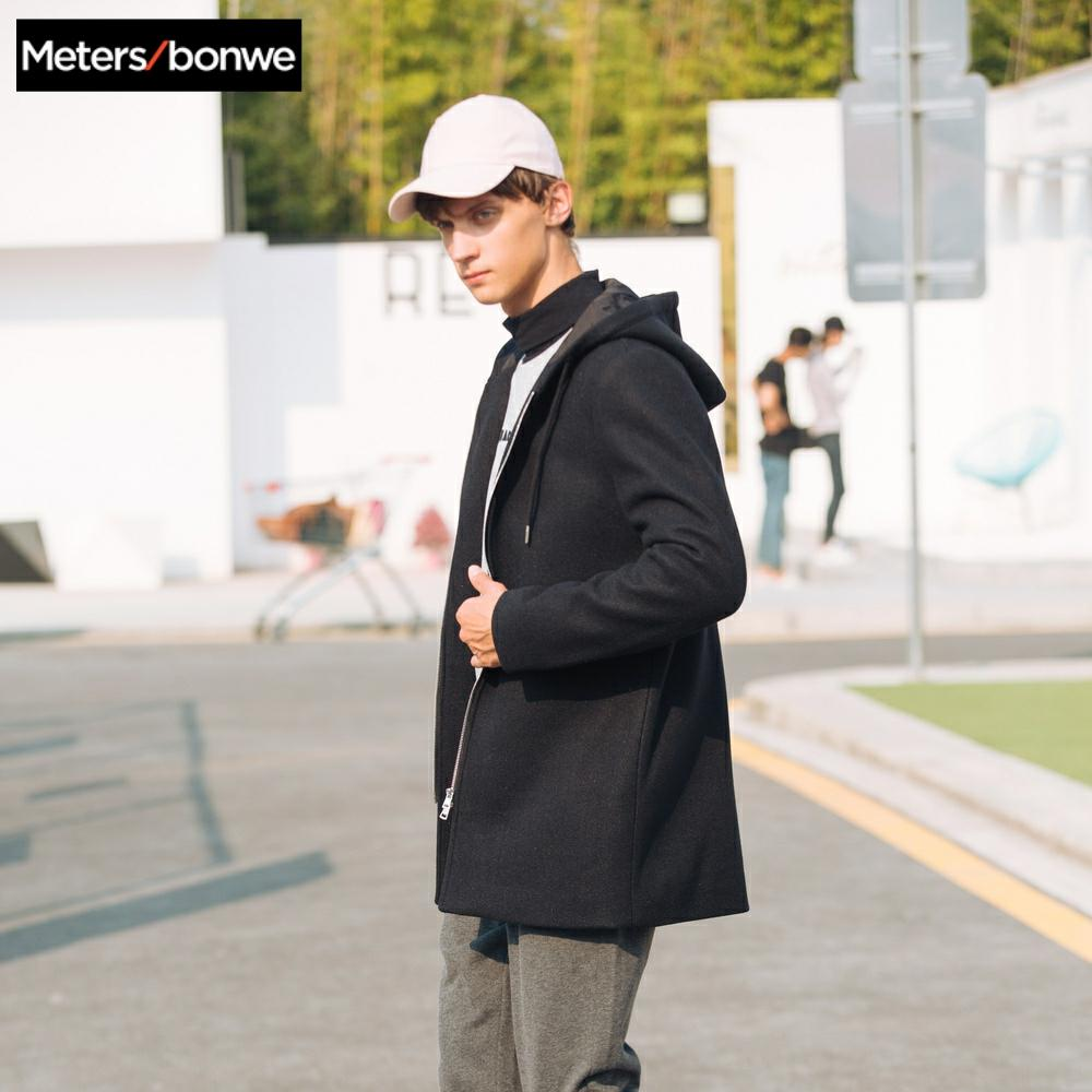 METERSBONWE Hoodies New Winter Men Wool Coat Simple Medium-Long Overcoat Literary Young Jackets