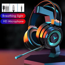 Gaming Headset Gamer Headphones Surround Sound Bass Stereo Led Wired Auriculares PC Laptop Game Headset Ps4 With Mic Stereophone cheap YIKAZE Dynamic CN(Origin) 120dB None 2 2m For Internet Bar for Video Game Common Headphone For Mobile Phone HiFi Headphone