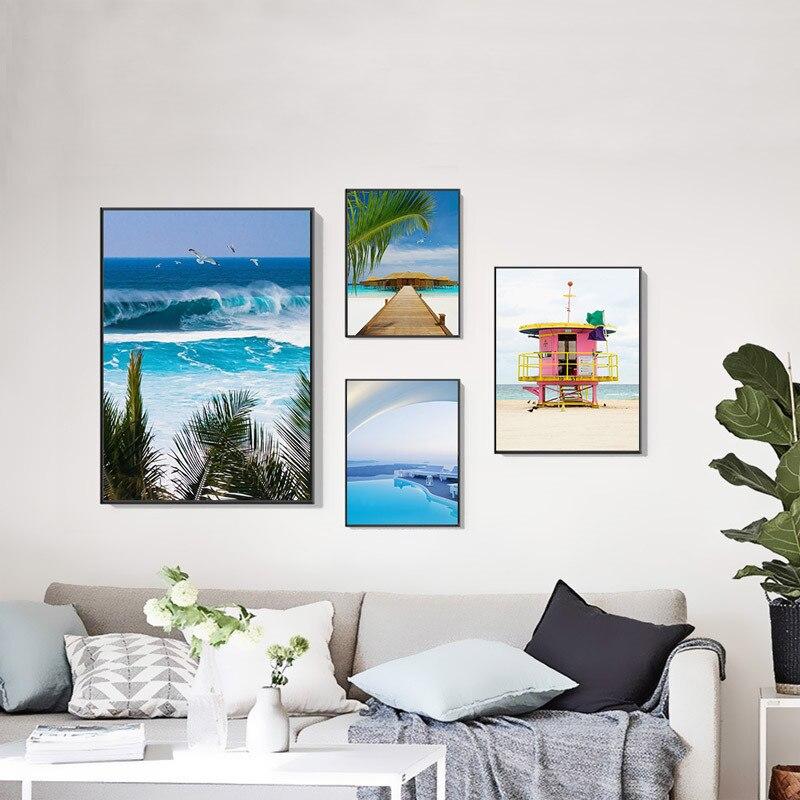 Постер синий морской бассейн зеленый тропический пальмовое дерево пляж автобус Современный Морской пейзаж холст картина печать домашний настенный художественный Декор