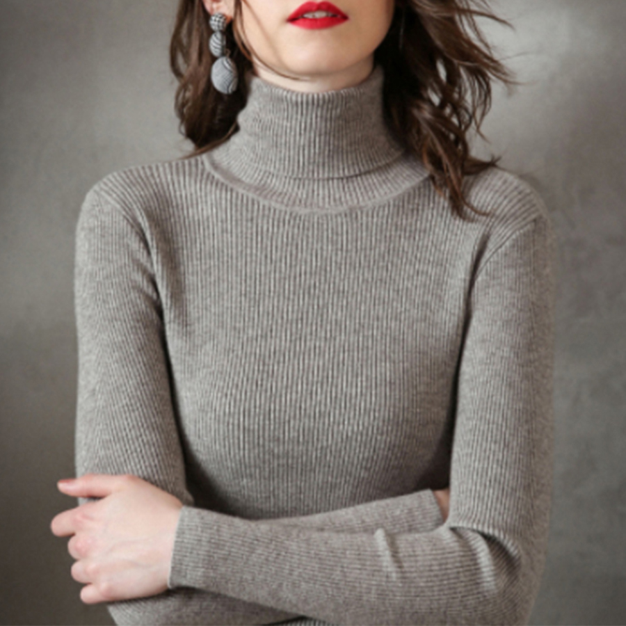 Solid Slim Winter Turtleneck Sweater Women Casual Warm Knitted Pullover Sweater Female Fashion Comfortable Wild Bottoming Tops