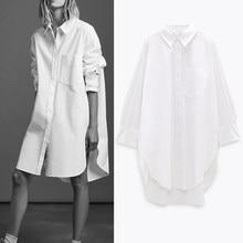 Sonbahar 2021 Za beyaz büyük boy düğme yukarı gömlek kadın bluz mavi yaka Poplin gömlek uzun kollu artı boyutu bayanlar üstleri cep