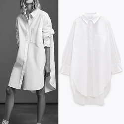 Autumn 2021 Za White Oversized Button Up Shirts Women Blouses Blue Collar Poplin Shirt Long Sleeve Plus Size Ladies Tops Pocket