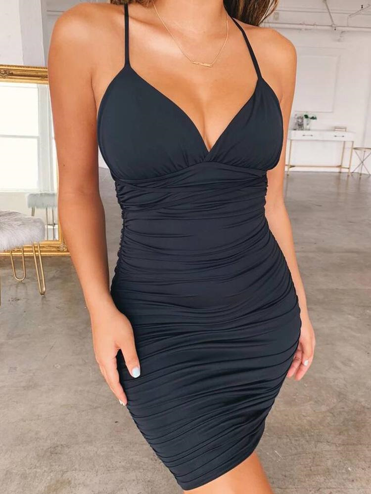 2019 Summer Women Sexy Elegant Mini Party Dress Female Slim Fit Deep V Neck Club Dress Crisscross Back Ruched Bodycon Dress in Dresses from Women 39 s Clothing