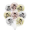 6 шт./лот, воздушные шары на день рождения 65, 66, 67, 68, 69, цвета розового золота, серебра, 65-го, 66-го, 68-го, вечерние украшения