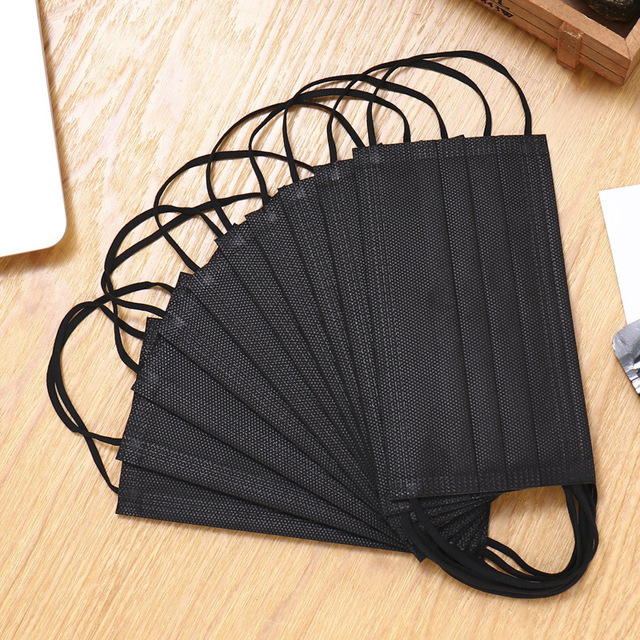 10pcs Disposable Black Face Mask 3 Layer Dustproof Nonwove Ply Face Mouth Masks Melt-blown Nonwovens Earloop Mouth Mask