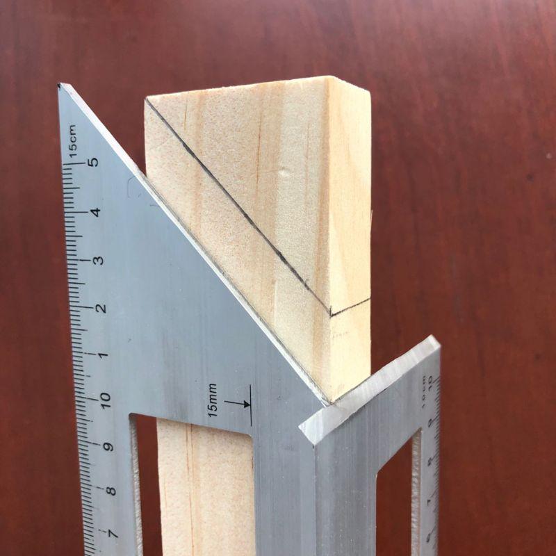 Regla multifuncional cuadrada de madera de aleación de aluminio, calibre 45 90 grados, para carpintería