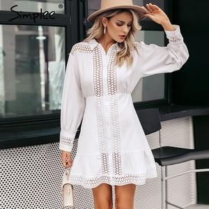 Image 4 - Simplee Elegant cotton lace women dress Long lantern sleeve ruffle A line white short dress Hollow out party winter dresses 2019