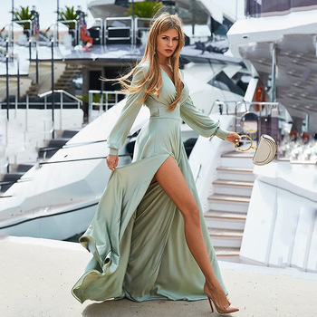 2020 Summer New Style WOMEN'S Dress Bohemian Deep V -Neck Dress Slit Big Hemline Dress e v Ening Dress Solid Color Shiny фото
