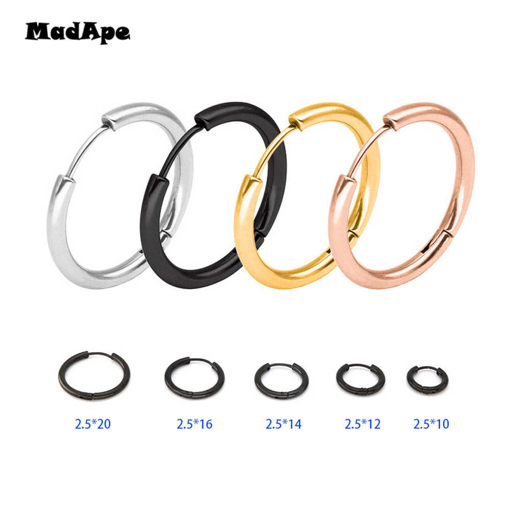 MadApe Trendy Silver Rose Gold Black Tone Stainless Steel Hoop Earrings Round Loop Earring For Women 25mm/20mm/11mm