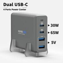 105 واط المزدوج USB C PD شاحن السفر محول مع 2 USB C PD3.0 PPS و 2 USB A متوافق مع ماك بوك ديل ثينك باد وأكثر من ذلك