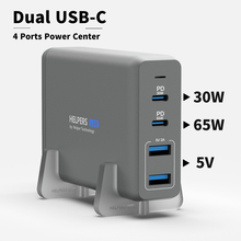 105W Dual USB C PD ชาร์จอะแดปเตอร์ 2 USB C PD3.0 PPS & 2 USB A ใช้งานร่วมกับ MacBook dell Thinkpad และอื่นๆ