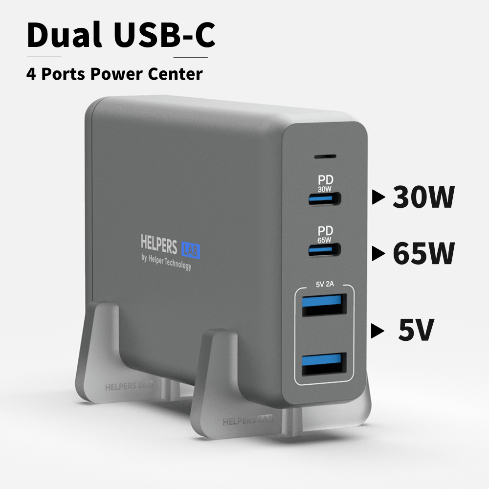105W Dual USB C PD Travel Charger Adapter With 2 USB-C PD3.0 PPS & 2 USB-A Compatible With  Macbook Dell Thinkpad And More
