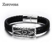 Modyle Cool Men Magnetic Buckle Genuine Black Leather Bracelet Stainless Steel Freemason Masonic Bracelets Men Jewelry