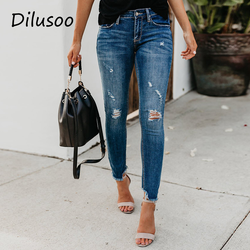 Dilusoo Women Middle Waist Jeans Pants Elastic Holes Denim Jeans 4 Season Pencil Pants Woman Ripped Slim Casual Jeans Ladies