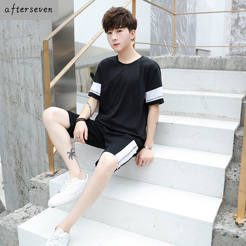 Summer Pro-Juvenile Short Half Sleeve Set Laziness-Style Pullover Function Cool Leg Pants Men's Handsome Little Brother Fashion