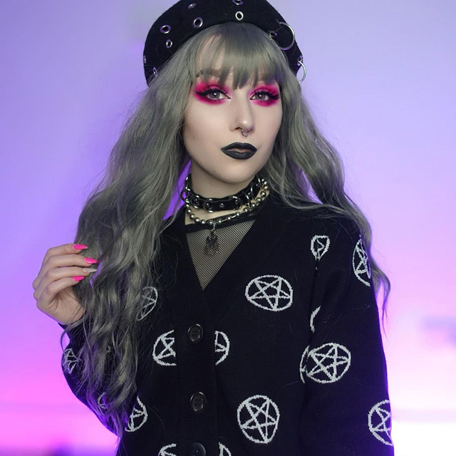 Black knitted cardigan with pentagram pattern