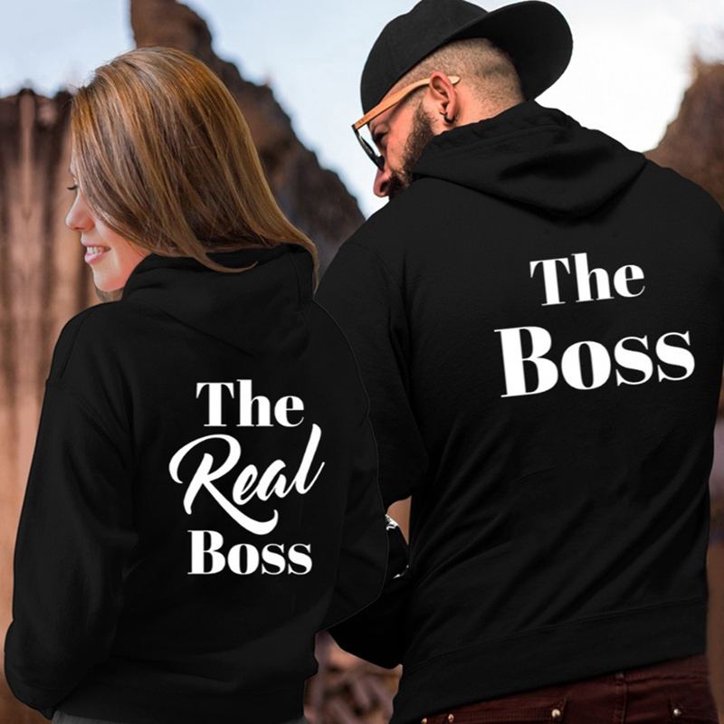The Boss The Real Boss Couple Hoodies Women Men Lovers Letter Printed Sweatshirt Lovers Couples Hoodies Casual Pullovers Gift