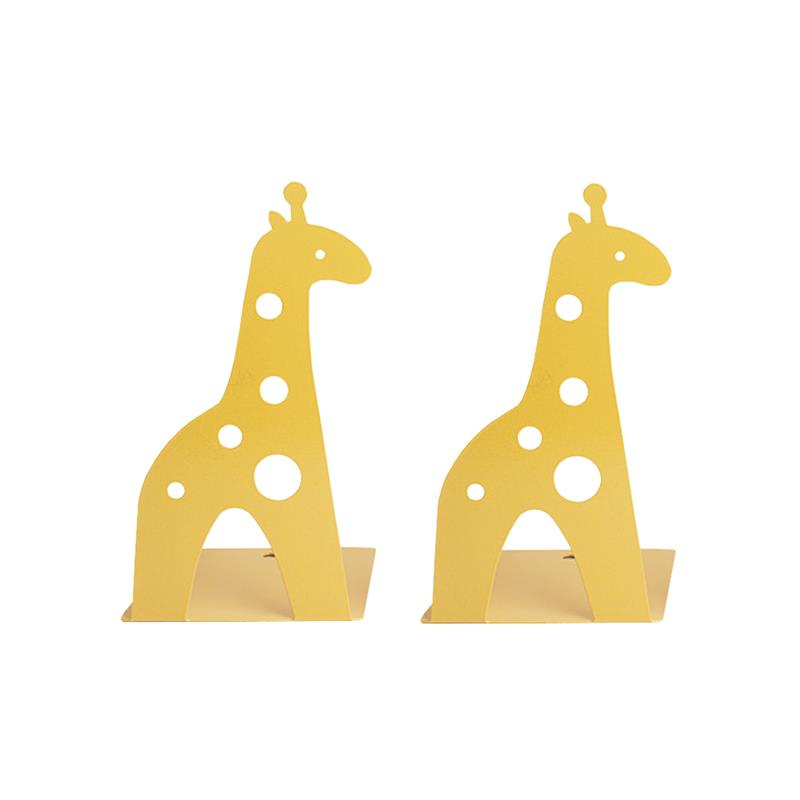 2Pcs Bookend Nonskid Creative Cartoon Durable Giraffe Book Stand for School Home