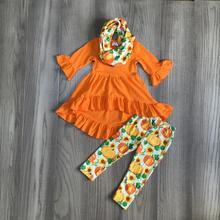 autumn thanksgiving Fall/Winter baby girls 3 pieces scarf orange pumpkin outfits pants set clothes ruffle boutique milk silk