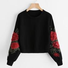 Women Long Sleeve Rose Embroidery Applique Sweatshirt O-Neck Pullover Top Blouse Women Plus Size 7.26 недорого