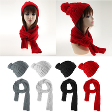2pcs/Set Unisex Womens Mens Winter Beanie Warm Knit Hat Cap and Scarf Wrap Neck Warmer