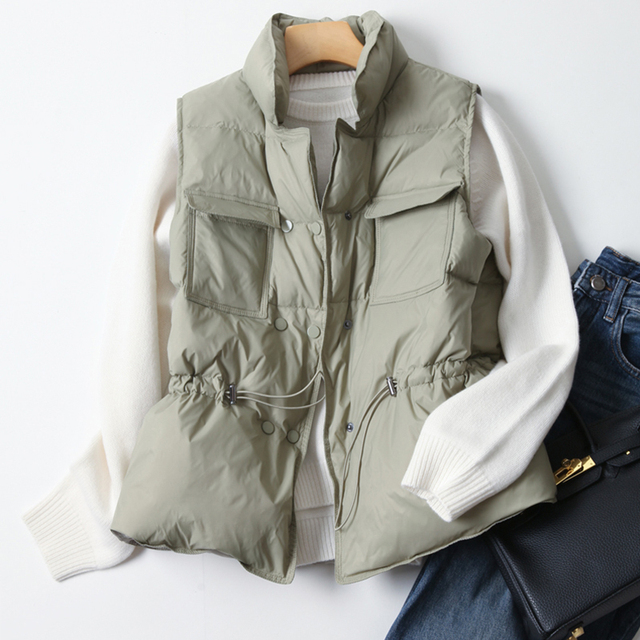 Fitaylor New Duck Down Coat Jacket Women Loose Double Breasted Warm Parkas Female Sleeveless Sash Tie Up Down Outwear 3