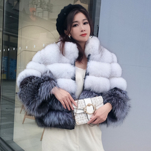 100% true fur coat Womens warm and stylish natural fox fur jacket vest Stand collar long sleeve leather coat Natural fur coats