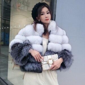 Image 1 - 100% wahre pelz mantel frauen warm und stilvolle natürliche fuchs pelz jacke weste Stehen kragen langarm leder mantel natürliche pelz mäntel