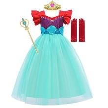 MUABABY Sereia Vestido Para A Menina de Verão Renda Tule Curto Voando Mangas Outfits Crianças Princesa Ariel Voltar Bow Lantejoula Fantasia Trajes