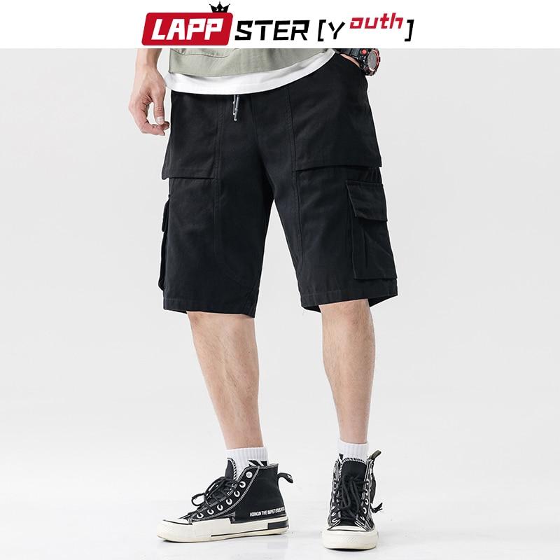LAPPSTER-Youth Summer Men Cotton Plus Size Shorts 2020 Mens Hip Hop Cargo Shorts Baggy Fashions Joggers Male Black Sweatshorts
