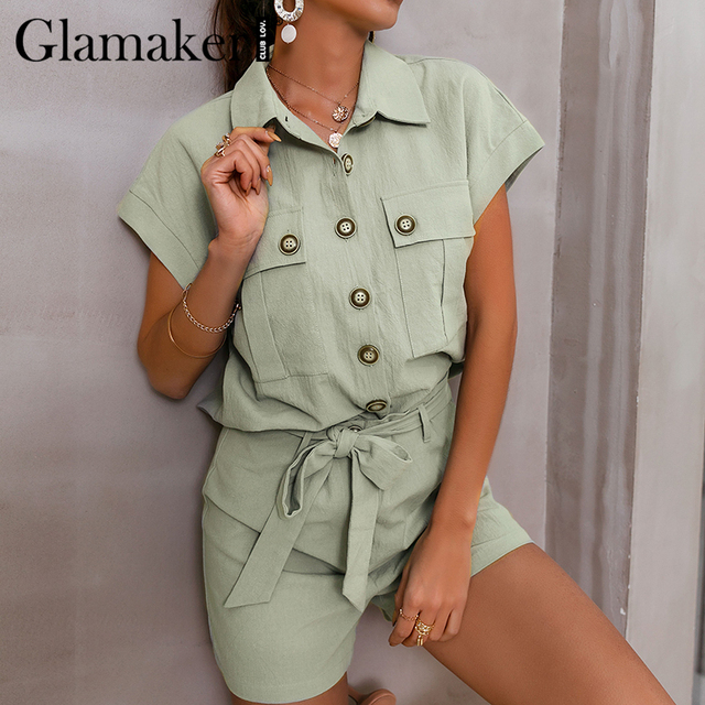 Glamaker Green two piece suit short sleeve shirt and shorts Women loose casual summer playsuit Female 2021 new office lady sets 1