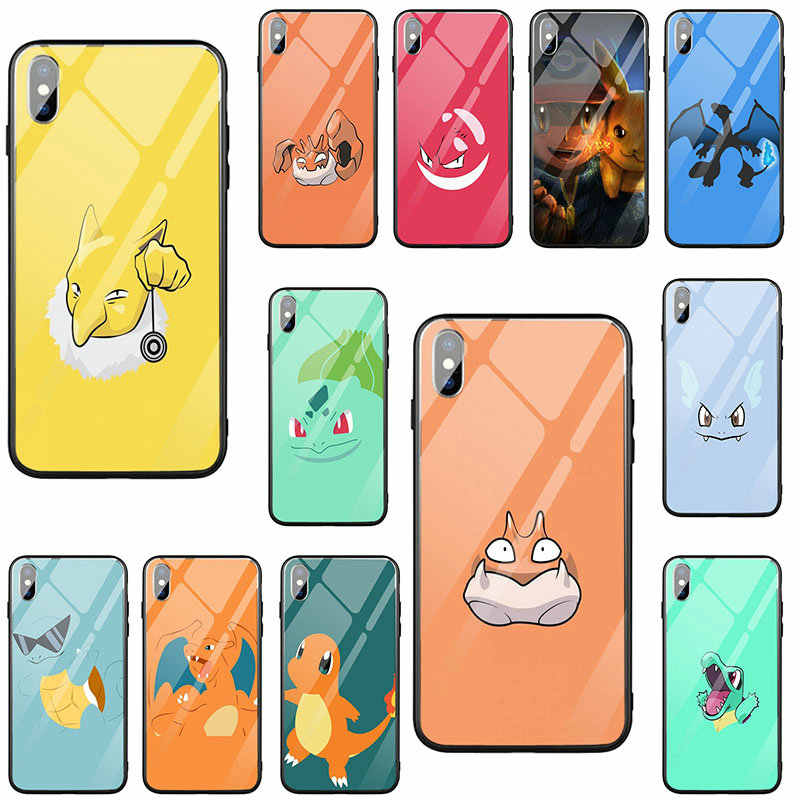 Temperato di Vetro Del Telefono Mobile Custodie per Iphone X Xr Xs 11 Pro Max 10 8 7 Più 6 6S più Borsette Cute Cartoon Pokemons