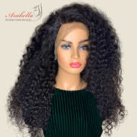 Brazilian Deep Wave 360 Lace Front Wig Natural Color Arabella Remy Hair Lace Front Human Hair Wigs 180% Density Pre Plucked