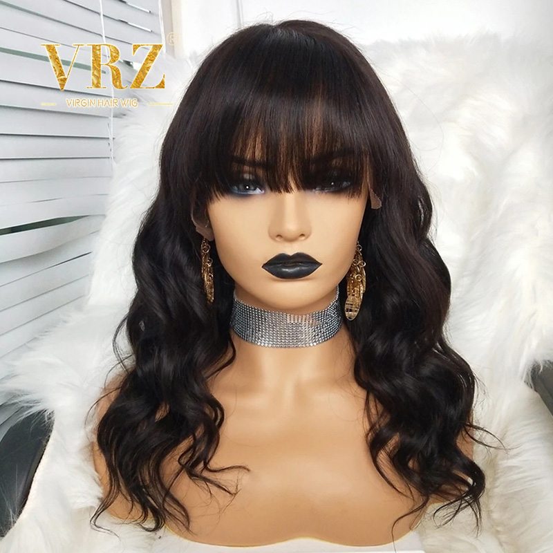 Lace Front Human Hair Wigs With Bangs 360 Lace Frontal Wig Brazilian Curly Wavy Fake Scalp Pre Plucked With Baby Hair VRZ