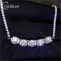 CoLife Jewelry 925 Silver Moissanite Bracelet 5 Pieces D Color Moissanite Silver Bracelet Sterling Silver Moissanite Jewelry