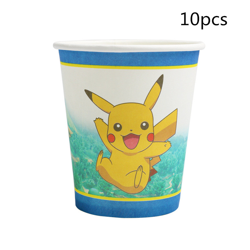 10pcs Pikachu Pokemon Cartoon Paper Cups For Wedding Decoration Disposable Drinking Cup Kids Birthday Party Supplies Boy Favors