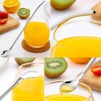 Горячая многоразовая ложка соломинки для питья  набор из 6 штук с 2 чистыми щетками-металлическая соломинка для питья  Длина 7 5 дюйма  для ста...