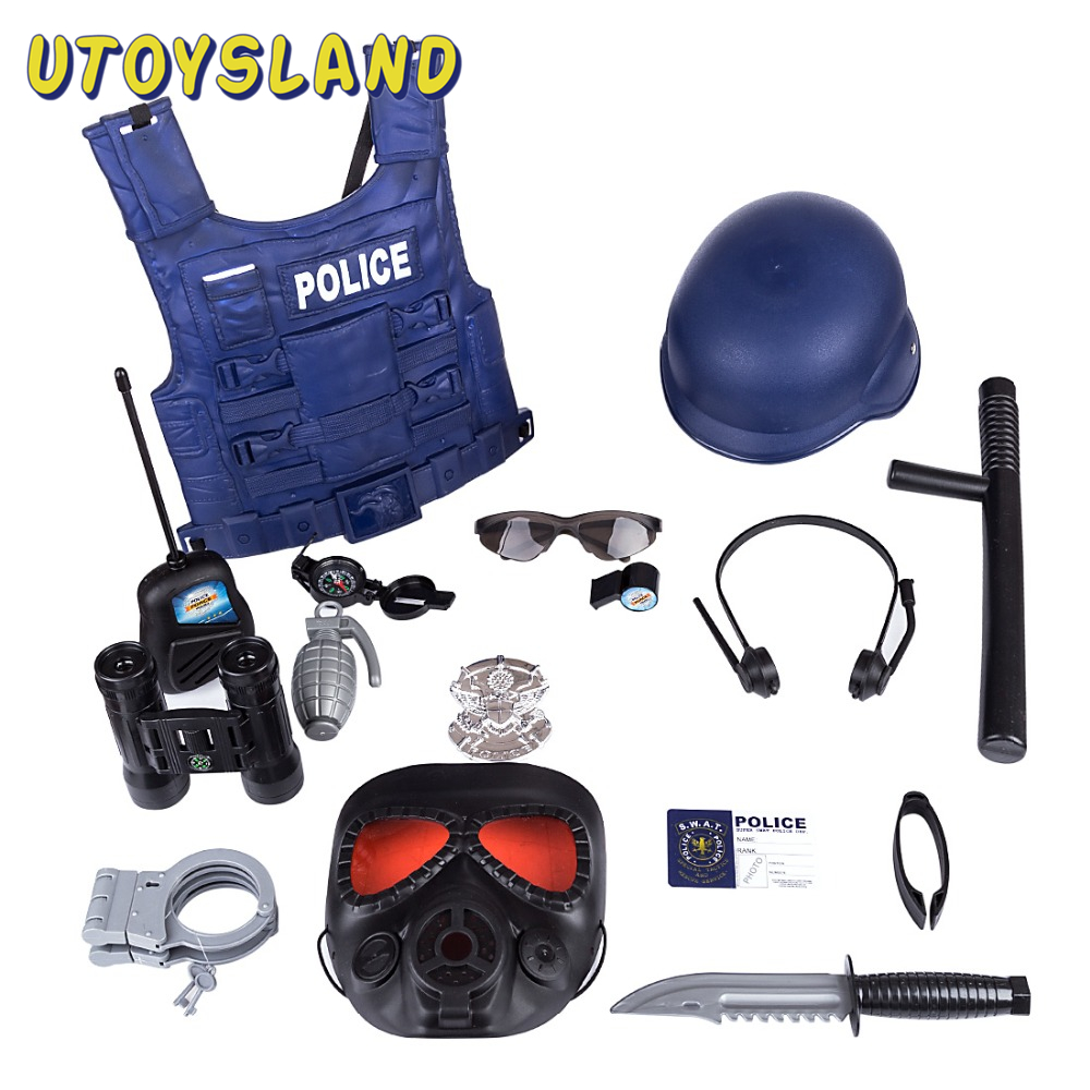 15Pcs/Set Children Pretend Play Police Officer Toy Props Police Role Play Kit Cop Toy Set For Fancy Dress Children Role Playing