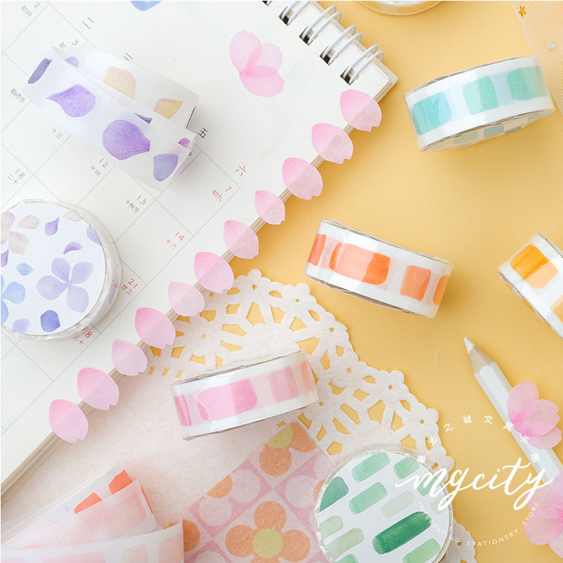 1PC Watercolor And Plants Pink Foil Cherry Blossom Floral Tape  Washi Tape Scrapbook Stickers Scrapbooking School Supplies