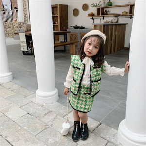 Image 5 - 2019 الخريف جديد وصول الكورية نمط مجموعة ملابس منقوشة سترة مع تنورة صغيرة أزياء الأميرة دعوى للفتيات طفل الحلو